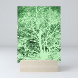 Green tree silhouette Mini Art Print