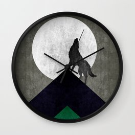 Wolf on top Wall Clock