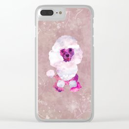 Watercolor Poodle Puppy Digital Art Clear iPhone Case