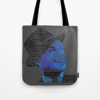 frank sinatra Tote Bags featuring Typographic Icons - Frank Sinatra by Ben Sidney Rhys-Lewis