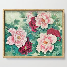 Light pink and purple peonies Serving Tray