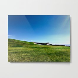 Golf course fairway and bunkers against blue sky Metal Print