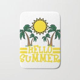 Hello Summer T-shirt Summer Time Heat Sea Fruit Beach Rest Sun Vacation Travel Tanned Palm Trees Bath Mat