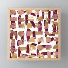 Modern burgundy pink gold watercolor brushstrokes Framed Mini Art Print