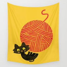 Fitz - Happiness (cat and yarn) Wall Tapestry