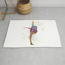 Young woman practices rhythmic gymnastics in watercolor 13 Rug