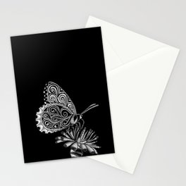 Tangled Butterfly on Black Stationery Cards