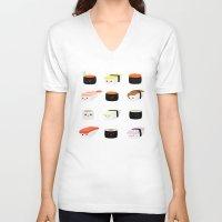sushi V-neck T-shirts featuring Sushi! by Sara Showalter