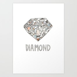 Diamond Gemstone / April Birthstone Watercolor Painting / Illustration Art Print