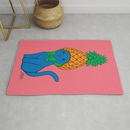Blue Cat Wears Pineapple Hat Rug