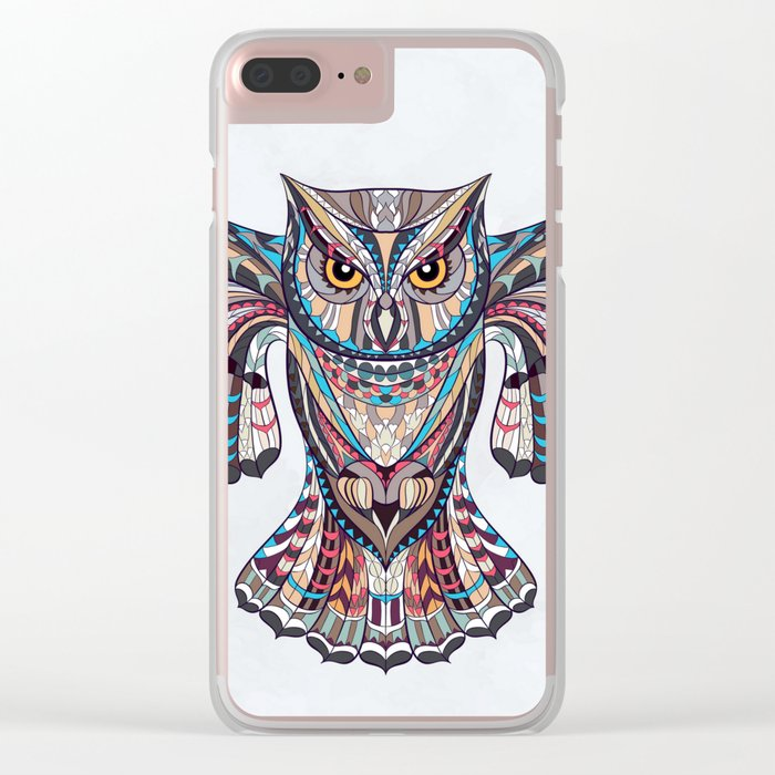 Colorful Ethnic Owl Clear iPhone Case