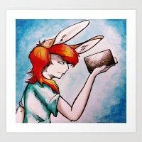 Reading Rabbit Art Print