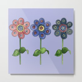 Flower Row Metal Print