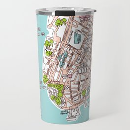 Fun New York City Manhattan street map illustration Travel Mug