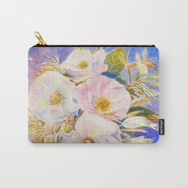 Watercolor Vase of Wild Roses Carry-All Pouch