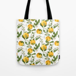 Citrus OrangeTree Branches with Flowers and Fruits Tote Bag