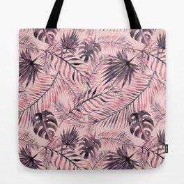 Jungle leaves pattern - Pink Tote Bag