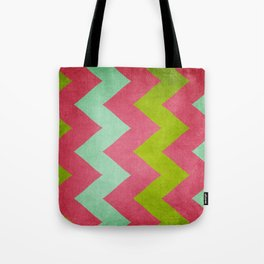Cocktails with Lilly - Pink, Aqua, Green Chevron Tote Bag