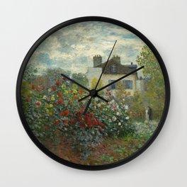 Claude Monet  A Corner of the Garden with Dahlias Wall Clock