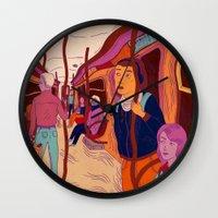 subway Wall Clocks featuring Subway Blues by Mary Slumber