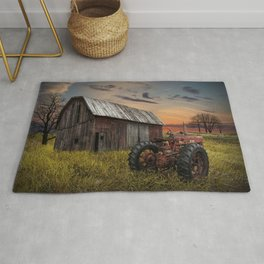 Abandoned Farmall Tractor and Barn Rug