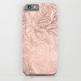 Modern rose gold floral illustration on blush pink iPhone Case