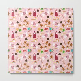 Christmas Sweeties Candies, Peppermints, Candy Canes and Chocolates on Pink Metal Print