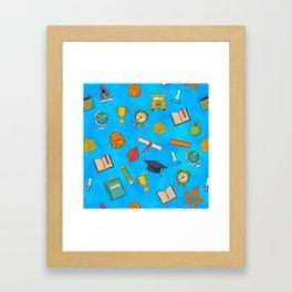 Back to school on blue background Framed Art Print
