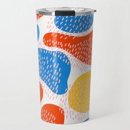 Abstract Orange, Blue & Yellow Memphis Pattern Travel Mug