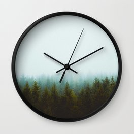 Misty Pine Forest Green Blue Hues Minimalist Photography Wall Clock