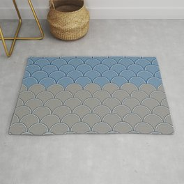 Geometric Circle Shapes Beachy Fish Scale Pattern in Blue and Gray Rug