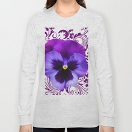 LILAC PURPLE PANSY SPRING FLORAL PATTERN Long Sleeve T-shirt