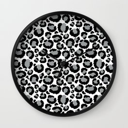 White Black & Light Gray Leopard Print Wall Clock