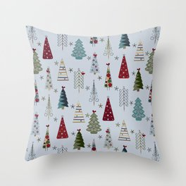 Scandinavian Christmas Trees Pattern - Blue Red Green Throw Pillow