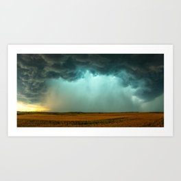 Open the Heavens - Panoramic Storm with Teal Hue in Northern Oklahoma Art Print
