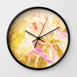 Tropical croton leaves 2/2 Wall Clock
