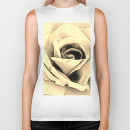 Modern Buttery Yellow Cream Rose Flower Art A266g Biker Tank