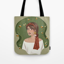 Queen Bee with Red Scarf Tote Bag