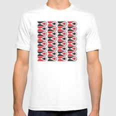 red & black loop pattern Mens Fitted Tee MEDIUM White