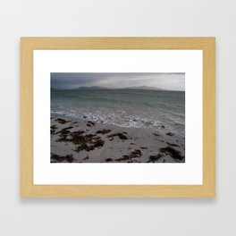 Landscape from the Isle of Berneray looking to the Isles of Harris Scotland  Framed Art Print