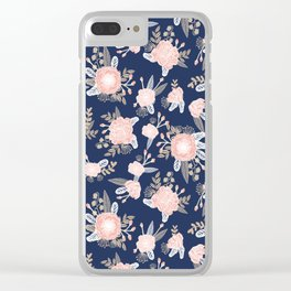 Floral bouquet pastel navy pink florals painted painted metallic pattern basic minimal pattern print Clear iPhone Case