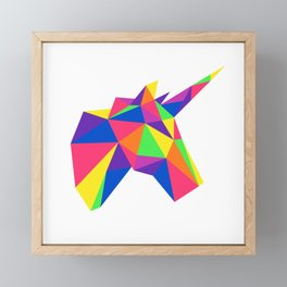 Rainbow Unicorn Geometric Design Framed Mini Art Print