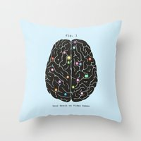 games Throw Pillows featuring Your Brain On Video Games by Terry Fan
