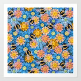Bumblebees on blue flowers Art Print