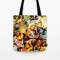 movie posters Tote Bags featuring Movie vintage poster by Brigitta