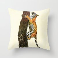 climbing Throw Pillows featuring Tree Climbing by Peaky40