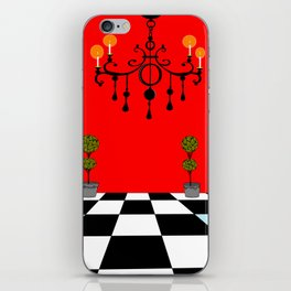 A Chandler with Topiary with Red wall paper iPhone Skin