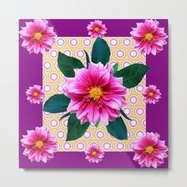 FUCHSIA DAHLIA FLOWERS ABSTRACT Metal Print
