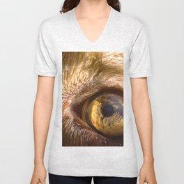 Eye details of a brown dog II Unisex V-Neck