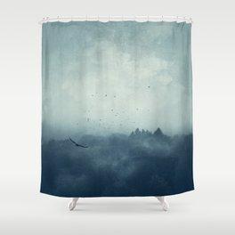 Flight Home - Mist Over Landscape Shower Curtain